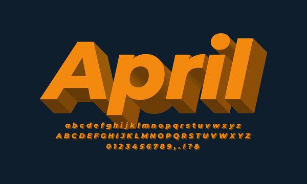 orange gold 3d font effect or text effect design alphabet