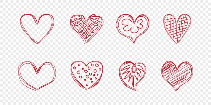 Set of scribbled red hearts on a checkered background. Template for valentines. Vector, eps.
