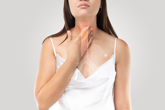 Bronchial or windpipe on the woman body and Bronchitis symptoms