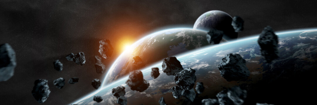 Panoramic space planets background. Panorama of distant solar system with exoplanets 3D rendering elements of this image furnished by NASA