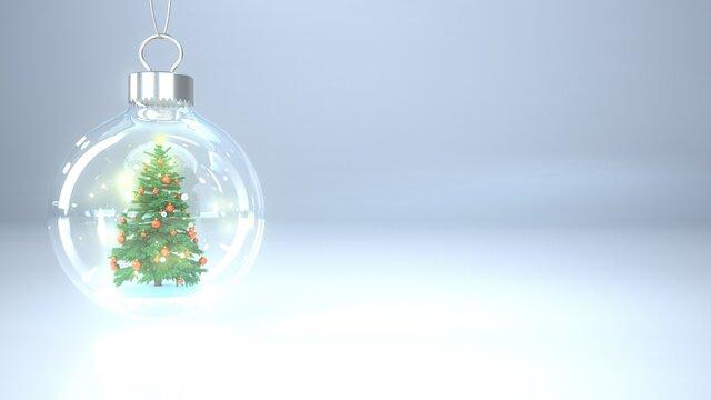 Weihnachtsbaum in der Schneekugel