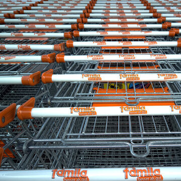 Famila shopping cart of the retail chain with the full assortment in Gifhorn, Germany, November 17, 2020