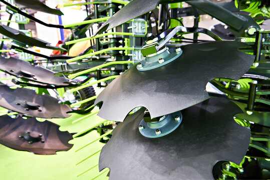 Disc harrow agricultural machinery folded at exhibition