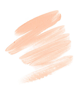 Peach lipstick smudge isolated on white background. Perfect beauty element design. Image.