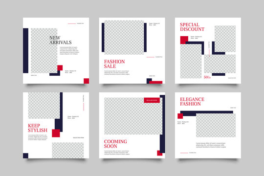 6 Editable square banner layout template. modern promotion square web banner for social media.
