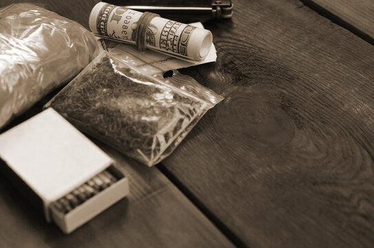 Items for preparing and rolling marijuana cannabis joint. Drugs narcotic concept