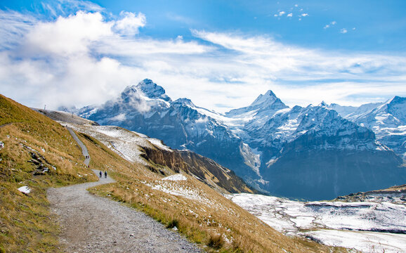Hiking trail to  Bachalpsee lake above Grindelwald village.