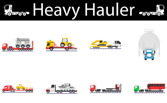 Special transport, Oversize Load Vehicle Icons Set, Heavy Hauler Vector Design, Trucks with trailers symbol, Overweight and oversize Transport Carrier Sign, Project Cargo and Logistics