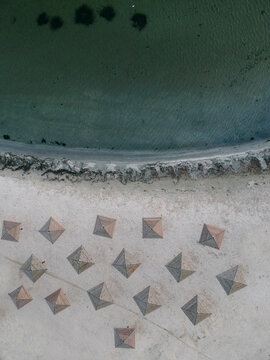Aerial summer view of empty Beach of Azov Sea, Ukraine