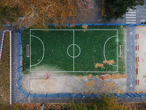 Aerial view of soccer field in autumn