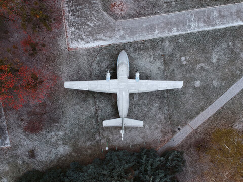 Old airplane in the park. Aerial view