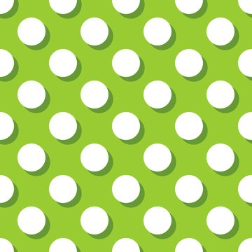 Tile vector pattern with white polka dots with shadow on green background