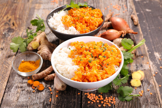 rice and curry lentil dalh