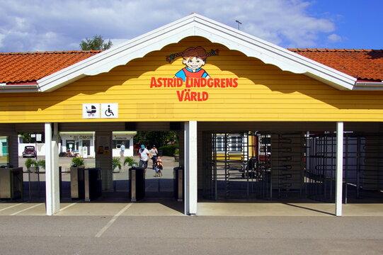 Vimmerby, Smaland, Sweden - August 2, 2019: Public entrance of Swedish theme park Astrid Lindgren's World.