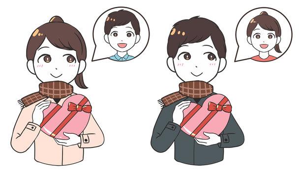 バレンタインチョコを贈る 片思い 屋外