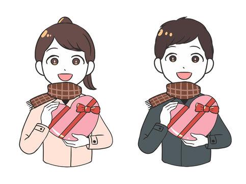 バレンタインチョコを贈る 屋外