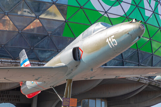 Fighter Jet in Front of Museum at Nikola Tesla Airport Belgrade Serbia