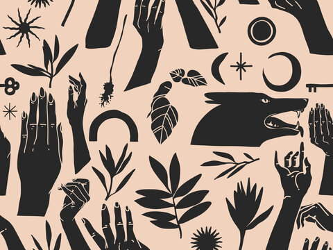Hand drawn vector abstract flat stock graphic icon illustration sketch seamless pattern with human hands, mystic occult elements and silhouettes ,simple collage shapes isolated on color background