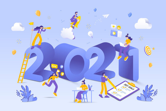 Happy new year 2021. 2021 business goals concept illustration