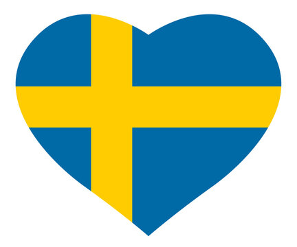 Heart with the swedish flag / vector, isolated