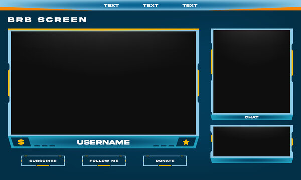 Stream Overlay BRB Screen Blue and Yellow theme with Chat Box, Panel Design, Minimalist Design, Vector Illustration