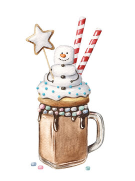 Christmas monster shake dessert with snowman