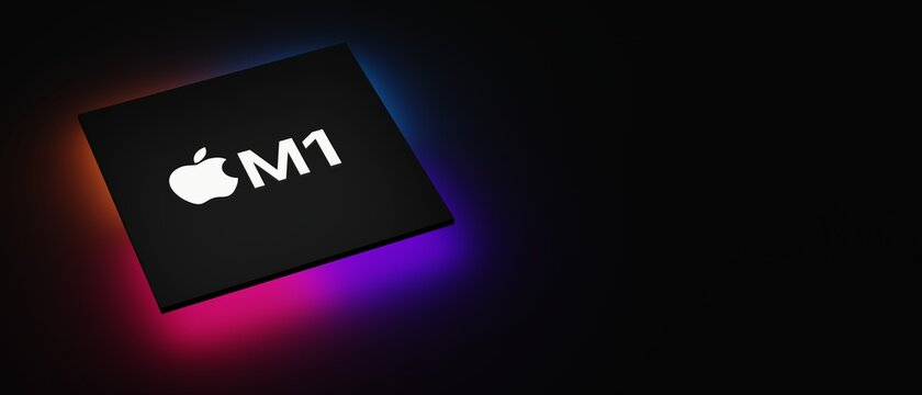 Cupertino, California - November 10, 2020 : 3D rendering Apple M1, the most powerful chip it has ever created and the first chip designed specifically for the Mac. M1 is CPU optimized for Mac systems.