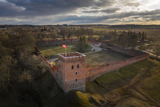 Medininkai Castle in Lithuania. medieval castle in Vilnius district, Lithuania, was built in the first half of the 14th century. The castle had 4 gates and towers. It was first mentioned in 1392