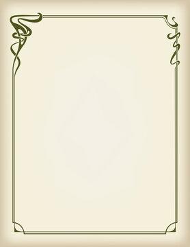 Ornate rectangular framework on parchment. Art Nouveau style of 1920s. Letter page size.