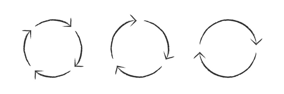 Arrow set circle reverse vector grunge shape, round arrows circular grungy cycle collection illustration.