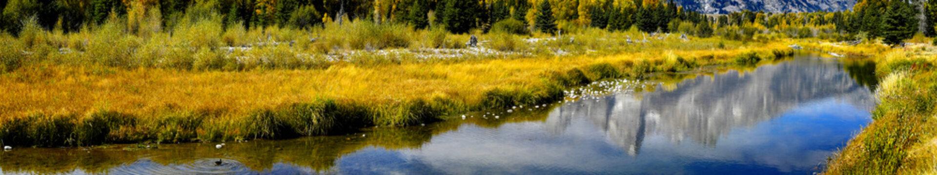 Web banner of the Snake River at Grand Teton National Park.