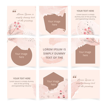 Set of editable pink social media instagram post template with place for photo. Abstract minimal trendy pastel color backgrounds with floral elements. Square social media post frame puzzle poster