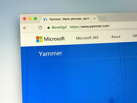 San Francisco, U.S. - June 20, 2018: Website of Microsoft Yammer a freemium enterprise social networking service used for private communication within organizations.