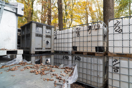 white chemical containers