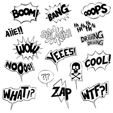 Collection of onomatopoeia in black and white