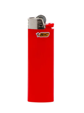 BUCHAREST, ROMANIA - APRIL  17, 2017. Red BIC cigarette lighter isolated on white