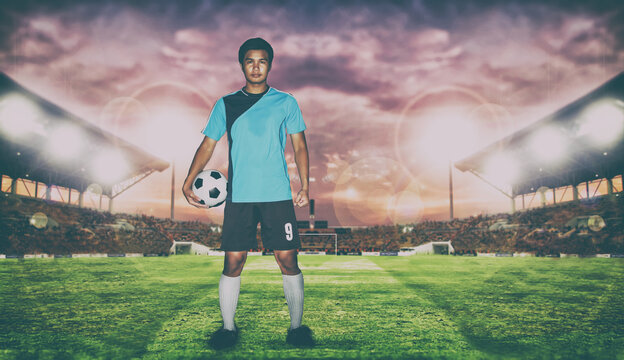 Digital Composite Image Of Soccer Player While Standing On Field Against Sky