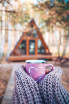 Hot mug of tea warming woman's hands in woollen sweater on background of cozy house