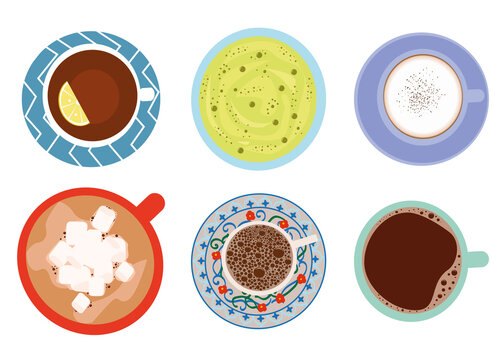 Set of hot drinks: tea with lemons, green matcha tea, cappuccino, hot chocolate with marshmallows, Turkish coffee, Americano isolated on a white background. Vector flat illustration. Top view.
