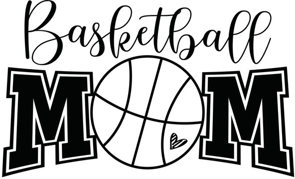 Basketball Mom With ball is an illustration of a stylized flat