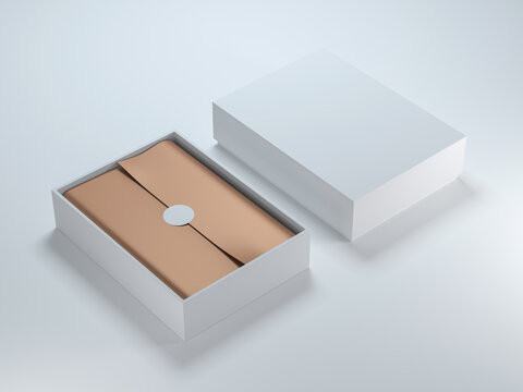Two White Boxes Mockup with golden wrapping paper, opened and closed on light background