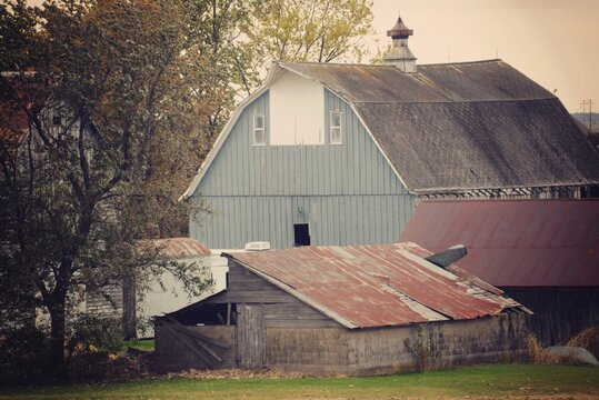 Old Barn On Field By Building