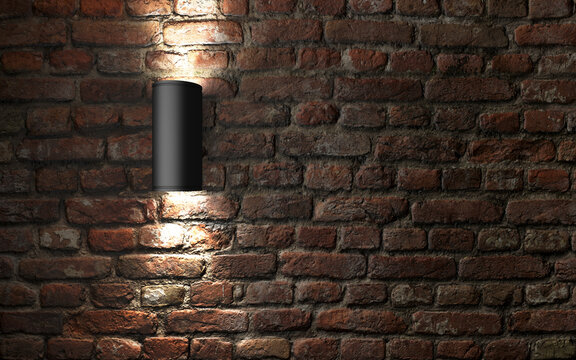 Modern wall lamp on old brick wall. 3d rendering