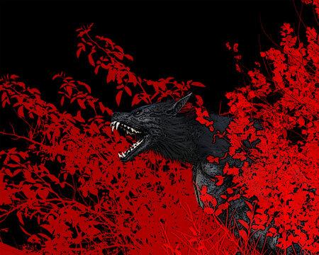3d illustration of a werewolf/dog man snarling/roaring amongst trees