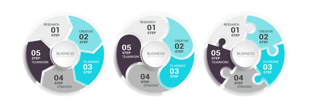 Modern Round Chart 3D Infographic Template with a Five Steps for Success. Business Circle Template with Options for Brochure, Diagram, Workflow, Timeline, Number Options. Vector EPS 10