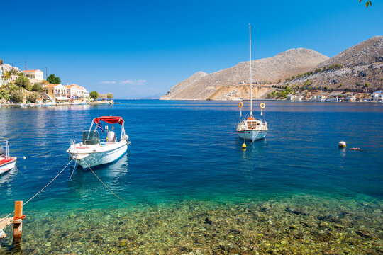 beautiful crystal blue water on Symi island in Greece