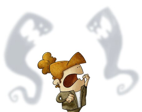 Terrified woman is afraid of two strange evil shadows that are behind her. concept of fear, psychological fear. isolated
