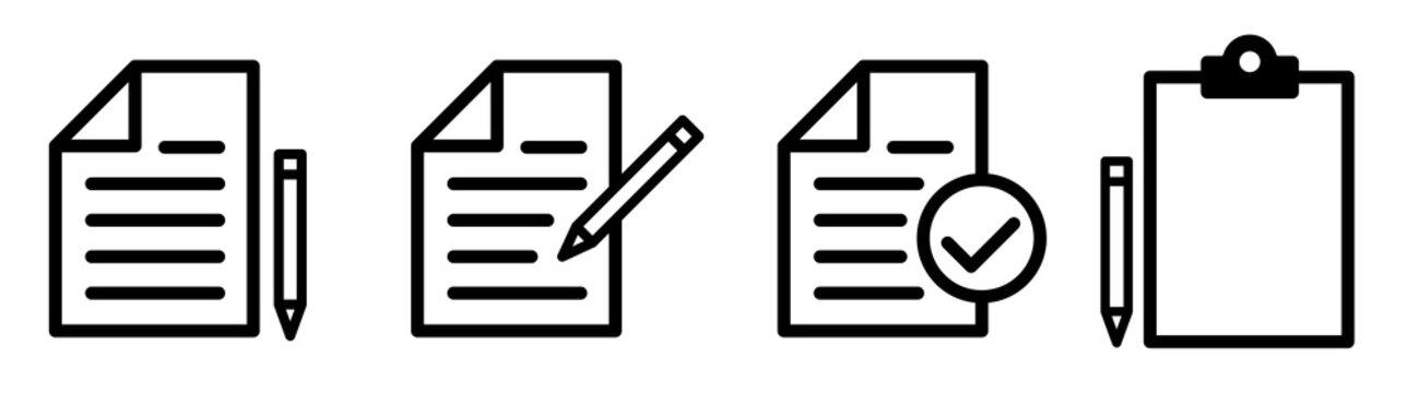 Document Symbol Set. Document vector icons isolated design. Paper document page icon. Edit document symbol, logo illustration. Flat style icons set.Vecor