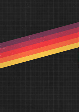 A retro dark 1970's or 1980's graphic portrait background design for use as a product, poster or flyer background with yellow, orange and red stripes across the center and copy space for design
