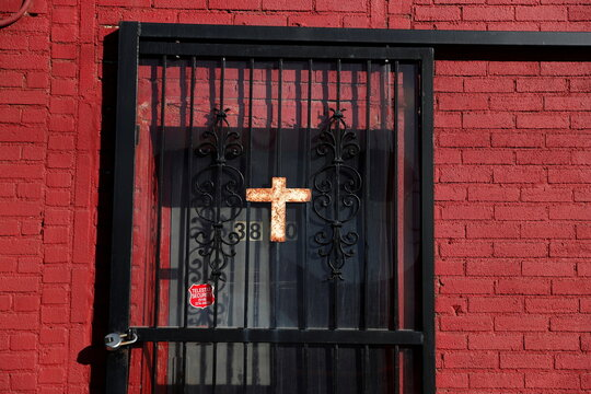 The entry to the New Beginning Deliverance Church Of Jesus Christ is seen locked, as the global outbreak of the coronavirus disease (COVID-19) continues, in the Queens borough of New York
